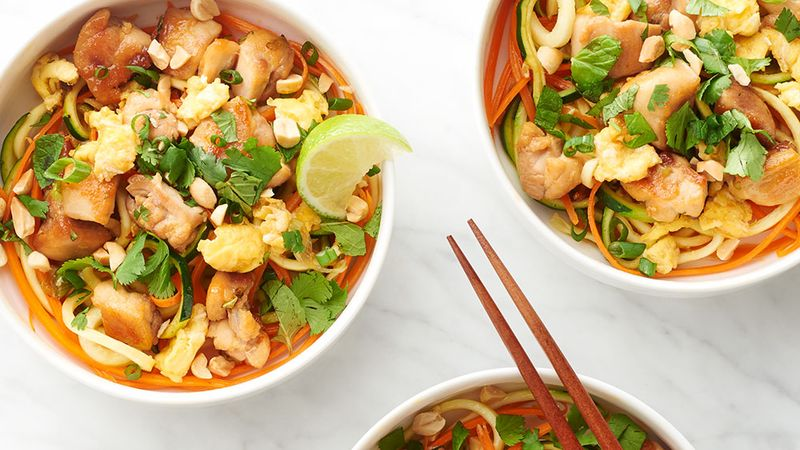 Chicken pad thai zoodle bowls recipe tablespoon chicken pad thai zoodle bowls forumfinder Images