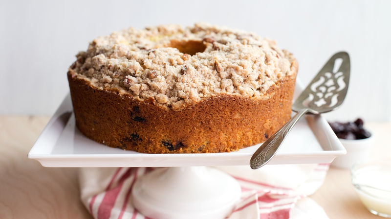 Brown Butter-Bourbon-Cherry Coffee Cake with Pecan Streusel