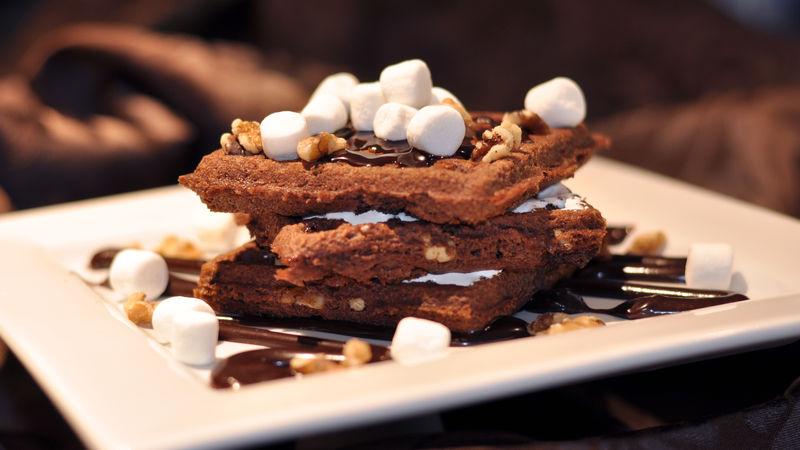Rocky Road Brownie Waffles