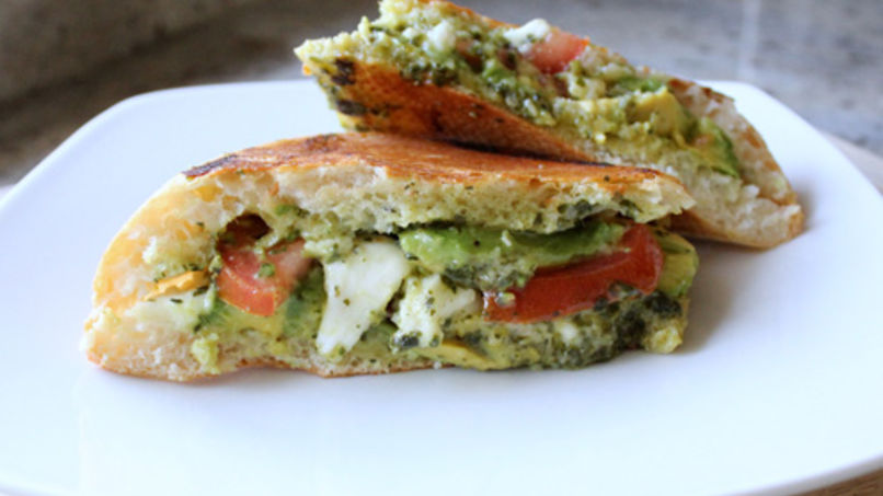 Avocado, Tomato, Mozzarella and Pesto Panini