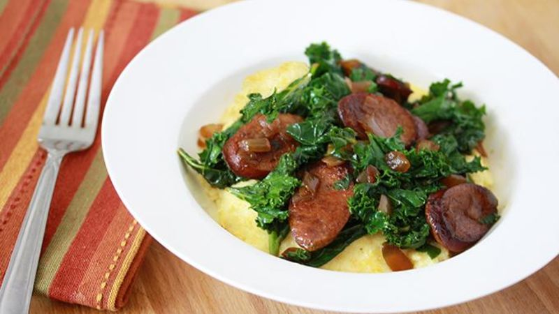 Spicy Sausage, Kale, and Cheesy Grits