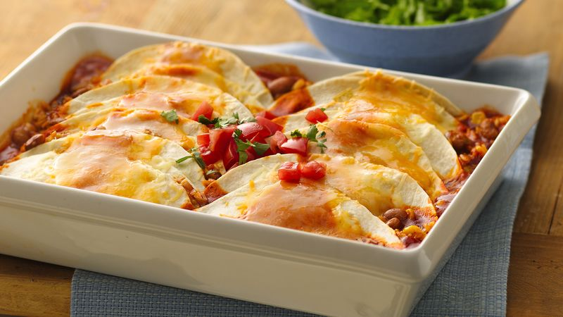 No-Roll Mexican Rice Enchiladas