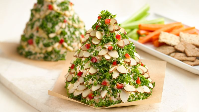 Christmas Cheese Ball.Holiday Tree Shaped Cheese Ball