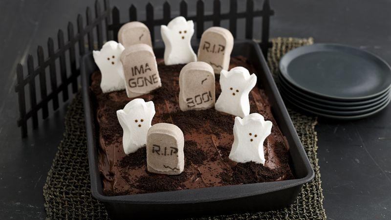 Peeps 174 Spooky Graveyard Cake Recipe Bettycrocker Com