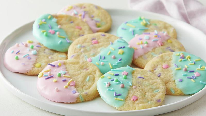 Sprinkled and Dipped Sugar Cookies