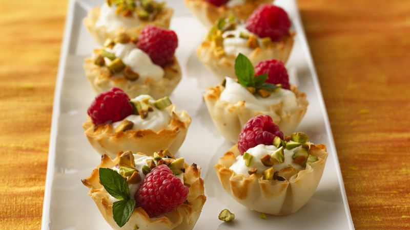 Pistachio and White Chocolate Mousse Tartlets