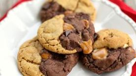 Chocolate Peanut Butter Caramel Swirl Cookies