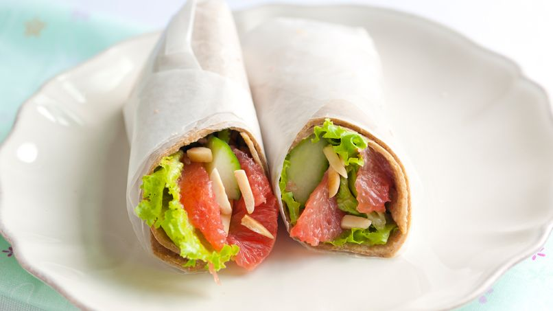 Pink Grapefruit and Ginger Salad Wraps