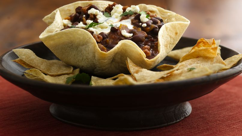 Black Bean-Chorizo Dip in Tortilla Bowls