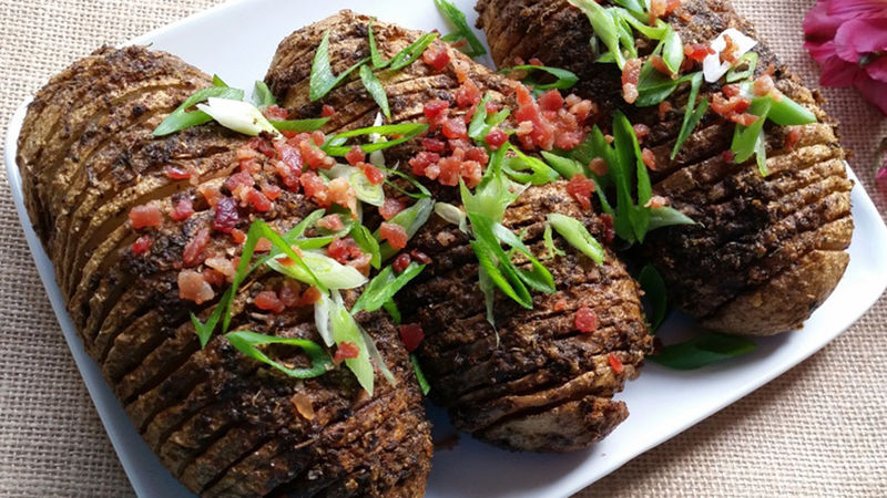 Hasselback Potatoes with Bacon and Chives
