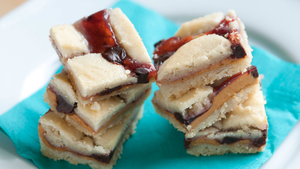 Chocolate, Peanut Butter and Jam Cookie Bars