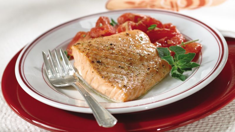 Skinny Salmon with Marjoram-Dijon Tomatoes