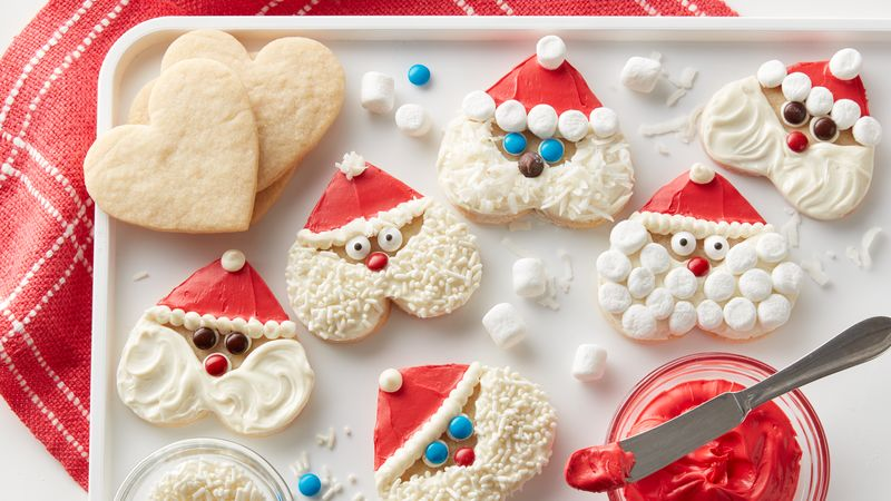 Santa Heart Shaped Cookies