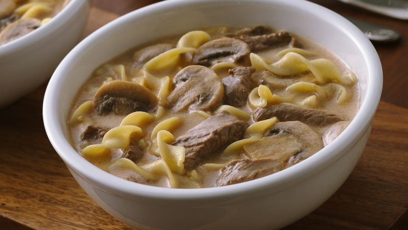 Creamy Beef, Mushroom and Noodle Soup