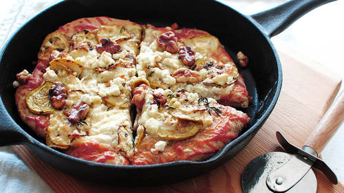 Cast Iron Pizza With Goat Cheese Summer Squash And Walnuts