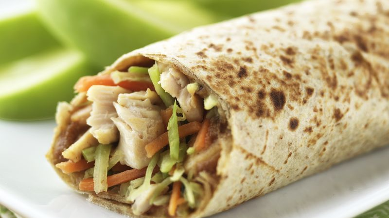 Skinny Peanut and Broccoli Slaw Wraps