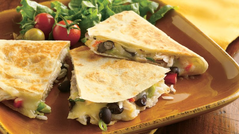 Cheesy Chicken And Bean Quesadillas Recipe Bettycrocker Com