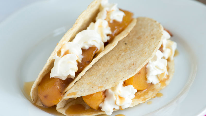 Sweet Spiced Peaches and Cream Tacos