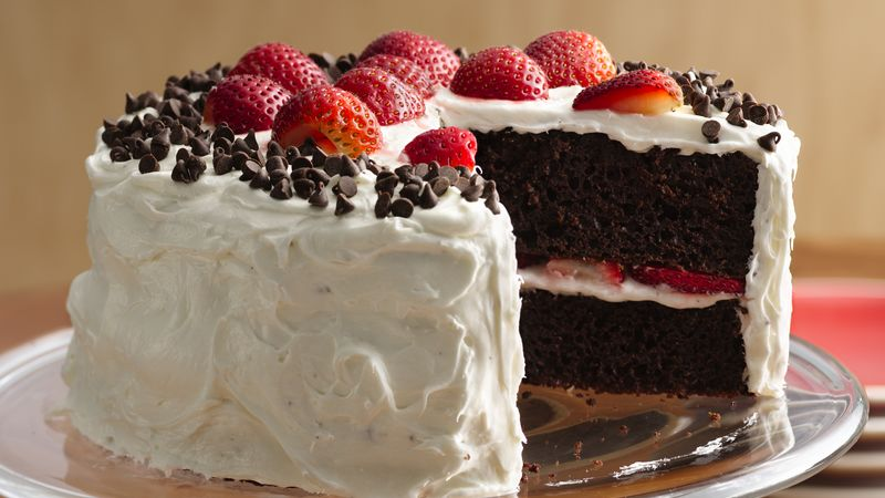 Chocolate Strawberry Cake With Fluffy Frosting Recipe Bettycrocker Com
