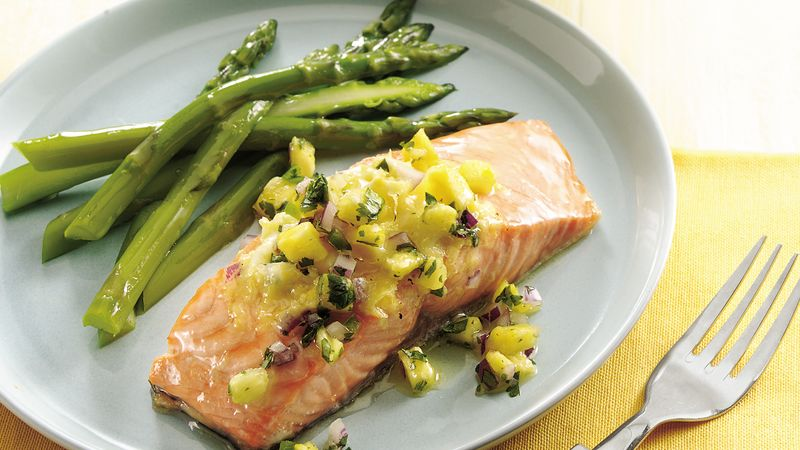 Salmon with Lemon Butter and Pineapple Salsa