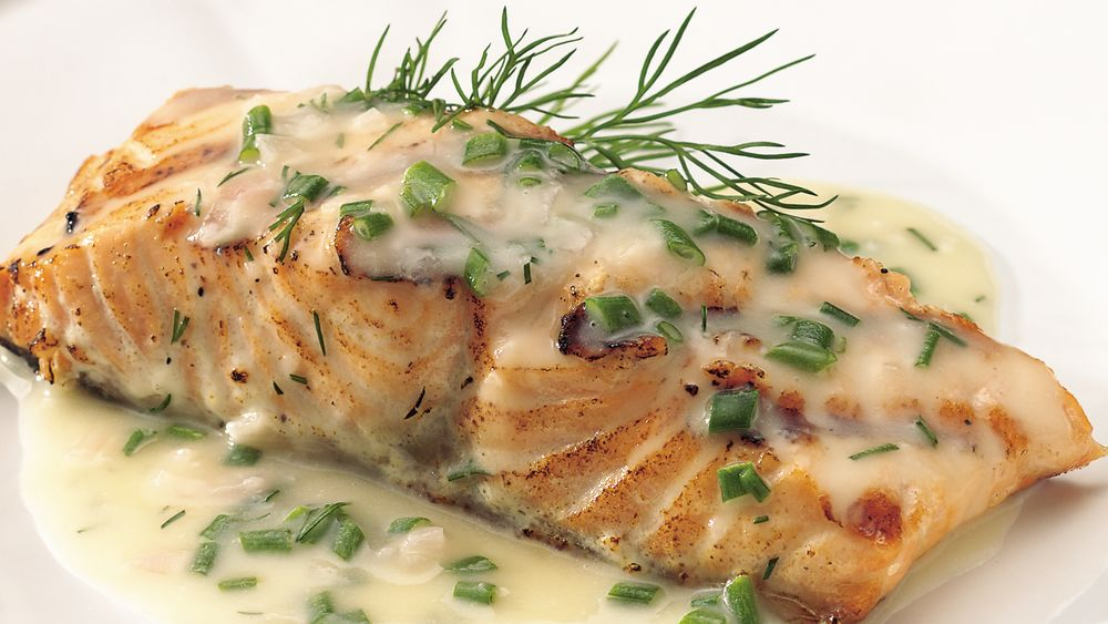 Grilled Salmon with Lemon-Herb Butter Sauce recipe from Pillsbury.com