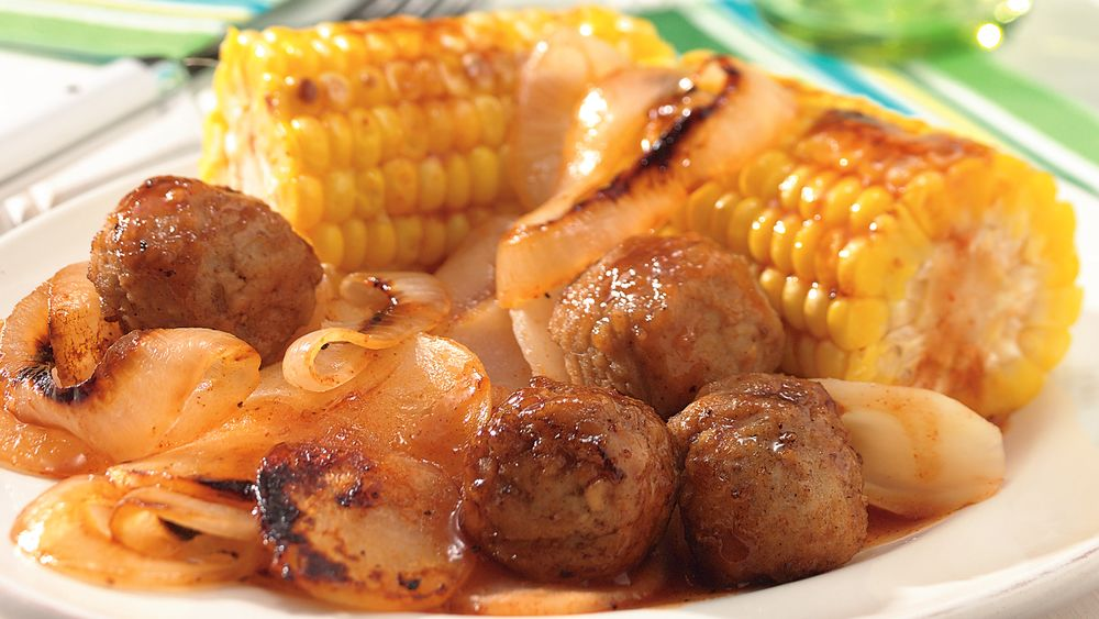 Grilled Honey-Barbecue Meatball Packets