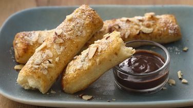 Toasted Almond Sticks with Chocolate Orange Sauce