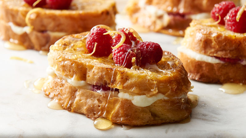 Lemon-Raspberry Ricotta Baked French Toast for Two