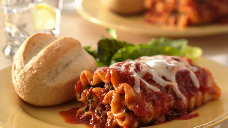 Beef and Spinach Lasagna Roll-Ups