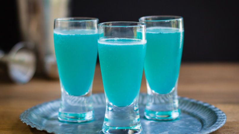 Turquoise Rum, Coconut and Pineapple Shots