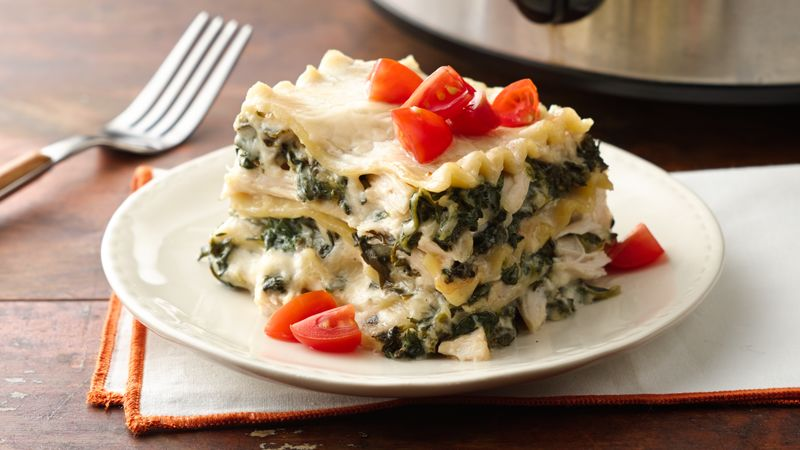 Slow Cooker Spinach Alfredo Lasagna