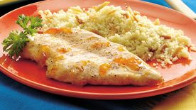 Apricot-Glazed Chicken Breasts with Almond Couscous
