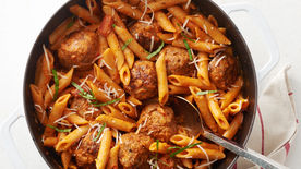 One-Pot Sausage Meatballs with Creamy Tomato Penne