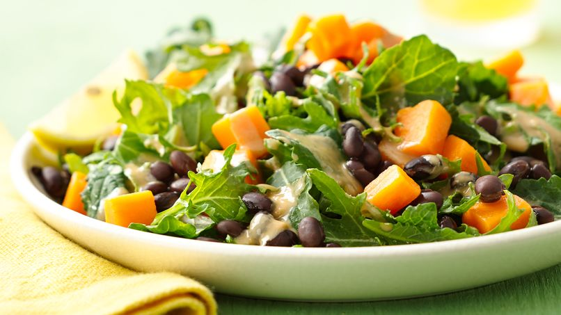 Kale, Black Bean and Sweet Potato Salad with Tahini Dressing