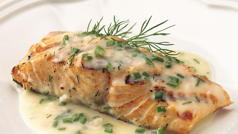 Grilled Salmon With Lemon Herb Butter Sauce Recipe Bettycrocker Com