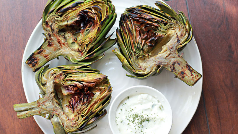 Grilled Artichoke with Lemon-Yogurt Aioli