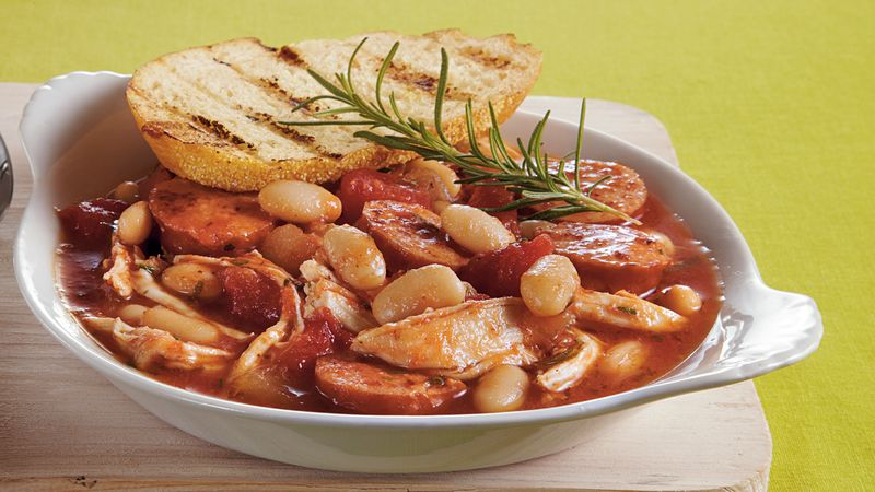 Slow-Cooker Chicken-Sausage-White Bean Stew