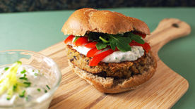 Quinoa Burgers with Easy Tzatziki
