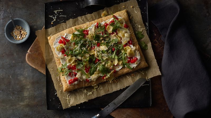 Artichoke, Roasted Red Pepper and Goat Cheese Tart