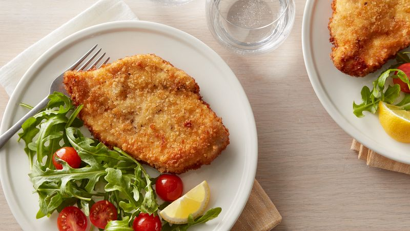 Chicken Schnitzel With Arugula And Tomato Salad Cooking For 2 Recipe Bettycrocker Com