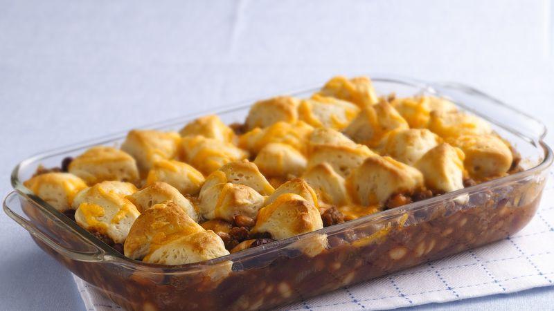 Cheesy Biscuit Bean And Beef Casserole Recipe Pillsburycom