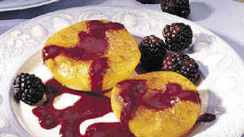 Broiled Peaches with Blackberry Sauce
