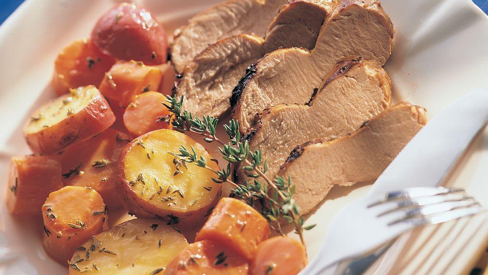 Grilled Pork with Orange-Thyme Glazed Vegetables