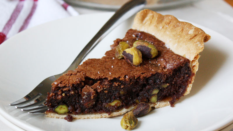 Sea Salt-Pistachio Fudge Pie