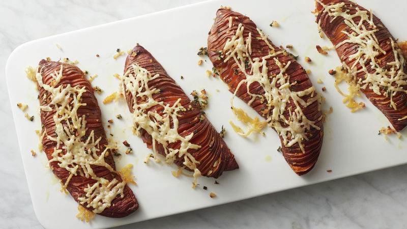Garlic-Herbed Hasselback Sweet Potatoes