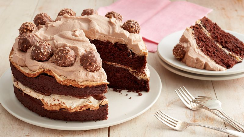 Chocolate-Hazelnut Meringue Layer Cake