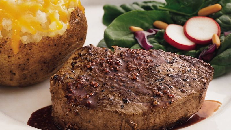 Pan-Fried Steaks with Mustard Sauce