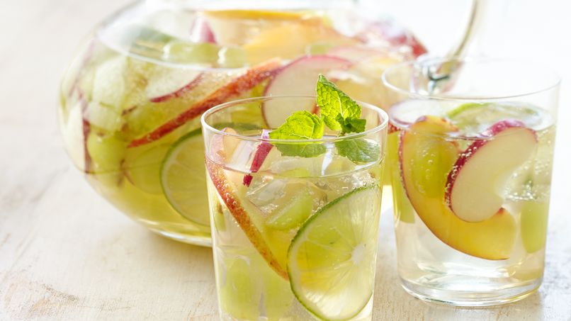 White Sangria with Lavender Mint Simple Syrup