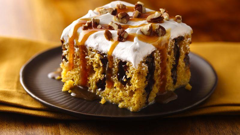 Caramel-Drizzled Pumpkin Poke Cake