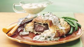 Wrapped Tenderloin with Gorgonzola-Mushroom Gravy